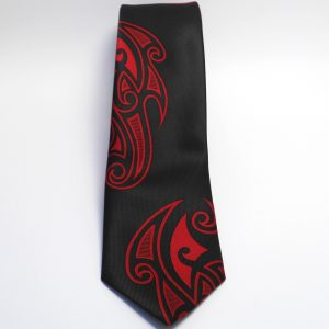 Maori Red Falling Motif Tie