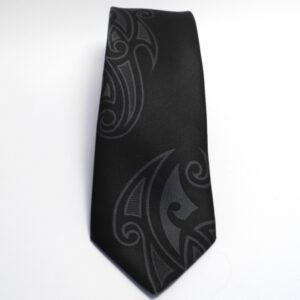 Maori Charcoal Falling Motif Tie