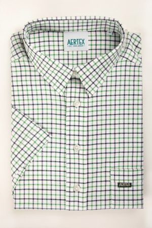 Aertex Short Sleeve Shirt by Summit-Green Check