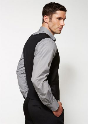 Mens Cool Stretch Plain Suiting Peaked Vest with Knitted Back