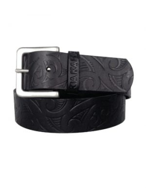 Kia Kaha Embossed Black Leather Belt