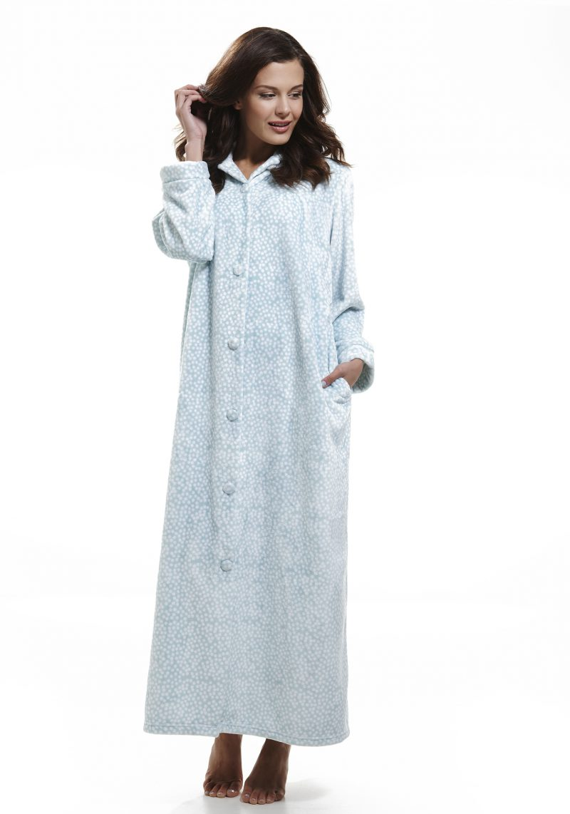 Infuence Velvet Fleece Printed Button Front Gown