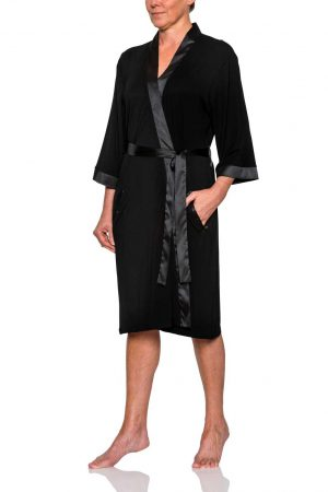 Pierre Cardin Bamboo Viscose Robe Black