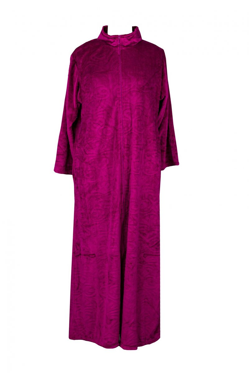 Pierre Cardin Velvet Fleece Zip Front Gown
