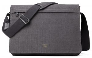 Troop London Classic Flap Front Messager large Bag- Black