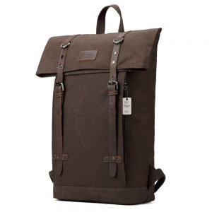 Edison Waxed Canvas Backpack - Dark Brown