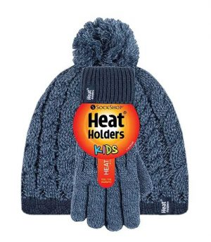 Kids Cable Pom Pom Hat & Gloves Set - Age 7-10