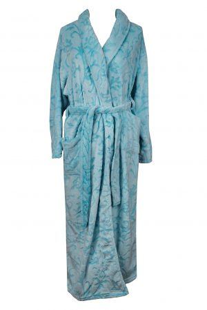 Pierre Cardin Embosed Fleece Full Shawl Collar Gown-Mint