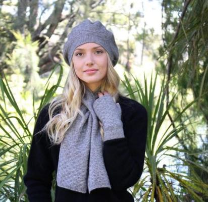 Womens Possum Merino beanie, scarves, gloves and socks